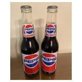 Pair of SEALED LONGNECK PEPSI Glass Bottles