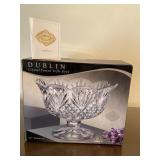 DUBLIN CRYSTAL FOOTED TRIFLE BOWL in Box