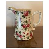 Gold Trimmed Floral Pitcher with Handle