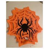 Group of Orange Fabric Spiderweb Halloween Decor