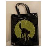 Vintage Black Cat Against Full Moon Plastic Bag