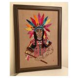 Embroidered Needlepoint Style Indian Wall Art