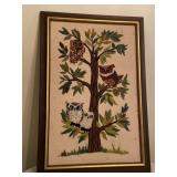 Embroidered Needlepoint Style Vintage Owl Wall Art
