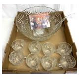 Punch bowl w/8matching glasses