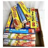 Box full of clear plastic cling wrap