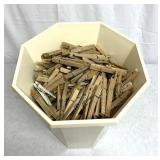 Basket five wooden clothespins