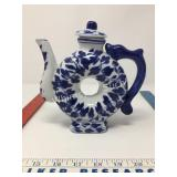 Vintage Blue & White Donut Teapot with Lid