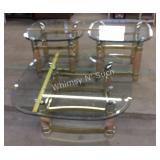 Glass Top Tables - 2 end tables one coffee table