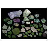 MIXED LOT OF SEA GLASS AND CRYSTALS
