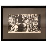 "GARY HART ""DIALOGUE"" WOODCUT ON PAPER FRAMED"