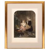 """ALFRED LUCAS ENGRAVING """"CHILDREN AND RABBITS"""""""
