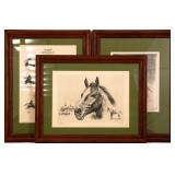 FRAMED R.H. PALENSKE RACE HORSE LITHOGRAPHS - LOT