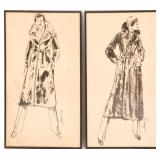 20TH C. DRAWINGS OF FASHIONABLE MAN - SIGNED
