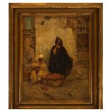 19TH C. ARAB STREET VENDOR OIL ON CANVAS PAINTING