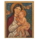 ELLIOT BOUTON TORREY MADONNA & CHILD OIL ON CANVAS