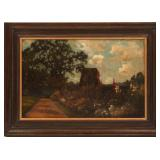 19TH C. OIL ON CANVAS COUNTRYSIDE LANDSCAPE