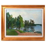 """GHEORGHE IONESCU """"LANDSCAPE WITH PIER"""" OIL PAINTIN"""