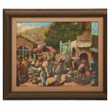 HARRY HERING STREET SCENE OIL ON BOARD PAINTING