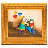 J. ROYBAL CHILDREN ON BICYCLE OIL PAINTING