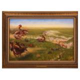 BRUMMETT ECHOHAWK 1873 MASSACRE OIL PAINTING