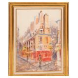 PARISIAN STREET SCENE MIXED MEDIA PAINTING SIGNED