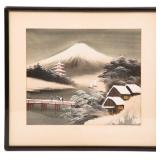 FRAMED CHINESE SILK PAINTING OF A SNOWY LANDSCAPE