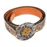 RATTLESNAKE OVER LEATHER BELT & SILVER TONE BUCKLE