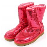 UGG AUSTRALIA CLASSIC SHORT SEQUIN BOOTS - RED