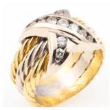 18K YELLOW & WHITE GOLD DIAMOND FASHION RING