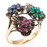 9K GOLD EMERALD, RUBY & SAPPHIRE FASHION RING
