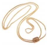 VICTORIAN YELLOW GOLD MUFF CHAIN & SLIDE PENDANT