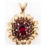 14K YELLOW GOLD RUBY FLORAL DESIGN PENDANT