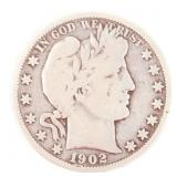 1902-O US SILVER BARBER HALF DOLLAR