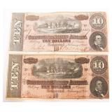 1864 $10 CONFEDERATE STATES OF AMERICA NOTES
