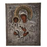 GREEK THEOTOKOS ICON WHITE METAL OKLAD