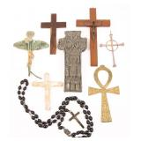 CRUCIFIXES, ROSARY, ANKH - LOT OF 8
