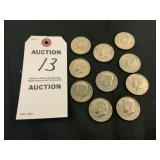 Nine (9) 1776-1976 Kennedy Half Dollar Coins