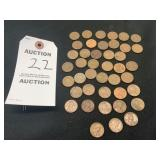42 Pennys, All circulated with Assorted Years