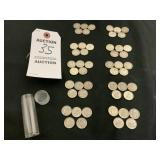 Roll of 50 Silver Dimes Assorted Years 1946 - 1964