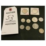 Lot of 10 Foreign Coins
