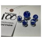 Vintage Blue Cat Eye Glass Marble 5 Piece Set