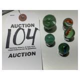 Five (5) Piece Vintage Cat Eye Marble Set