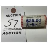 James A. Garfield 25 Dollar Roll of Dollar Coins