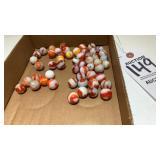 Agate Orange Vintage Marbles 50 In Lot