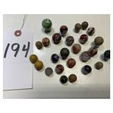 26 Vintage Glass & Clay Marbles