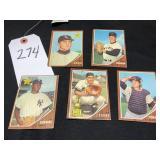 Five (5) 1962 Topps Baseball Cards