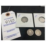 1853, 1891, 1887?, 1891 Silver Dimes