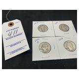 1928, 1935, 1941D, 1956 Silver Quarters