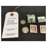 1976 Nickel, 1990 D Dime, Canadian Stamps