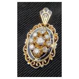 14K Gold Nine Diamond Antique Pendant 0.33ct